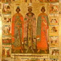 Псковская икона «Святые Благоверные князья Владимир, Борис и Глеб» с 21 клеймами жития